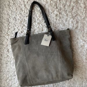 NWT G.H. Bass gray suede leather tote
